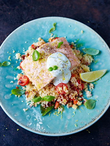 steamed salmon and couscous