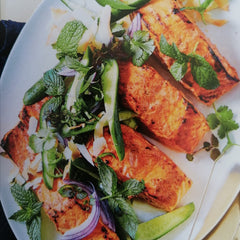 Tandoori salmon with cucumber coconut salad