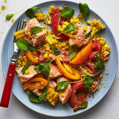 Tomato, salmon and corn salad with za'atar dressing