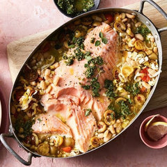 Tray baked salmon with beans and leeks