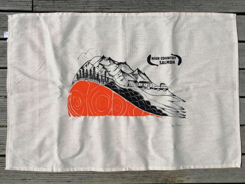 Original artwork Tea Towel by Trisha high country salmon