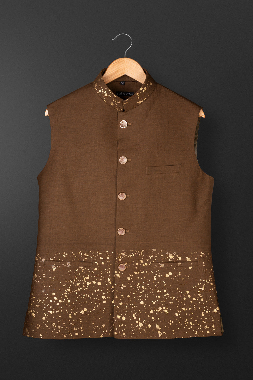 Splash of Gold Bundi Jacket - Brown