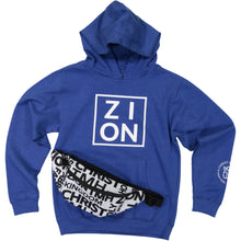 "Load image into Gallery viewer, Youth ""ZION"" Blue Hoodie"