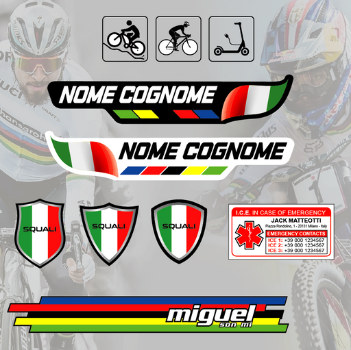 kit sticker nominativi - kit 31 pezzi - Mod. 2
