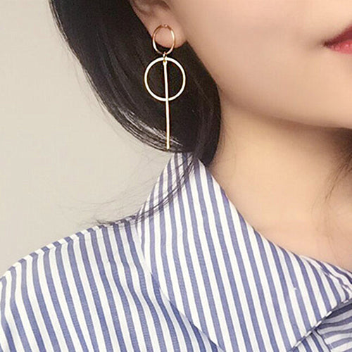 Long Circle Pendant Earrings