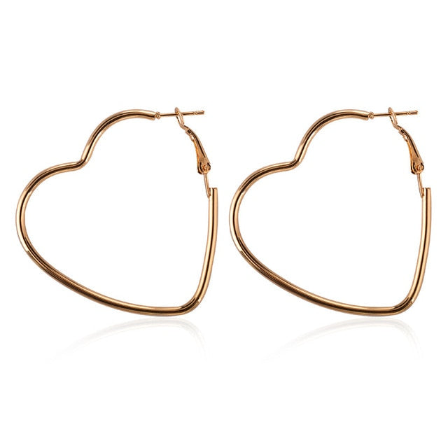 Big Circle Heart-Shaped  Earrings
