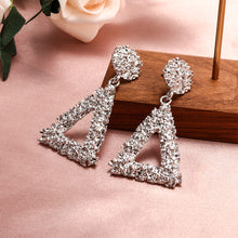 Load image into Gallery viewer, Triangle Dangle Crystal Earrings