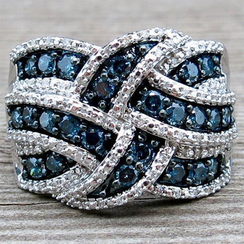 Sterling Silver with Blue Stones Ring