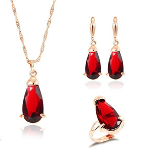 Read Teardrop Crystal Pendants w/ Earrings & Ring