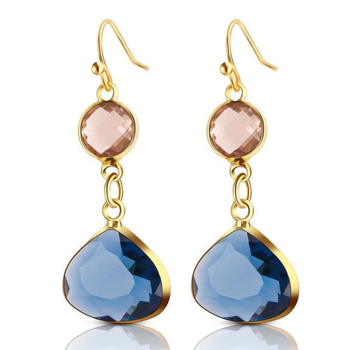 Blue/Pink Crystal Earrings
