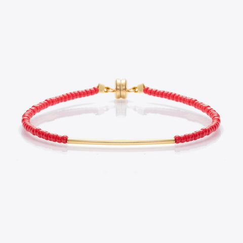 MINNIE GRACE Red beaded friendship bracelet, Bracelet - La Luce
