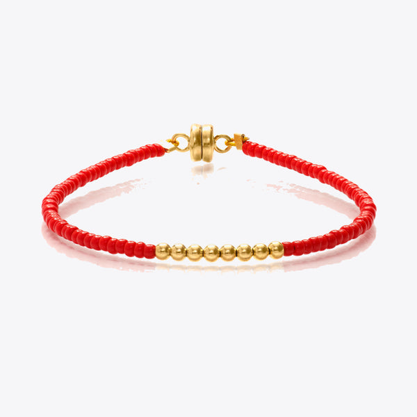 MINNIE GRACE Red and Gold beaded friendship bracelet, Bracelet - La Luce