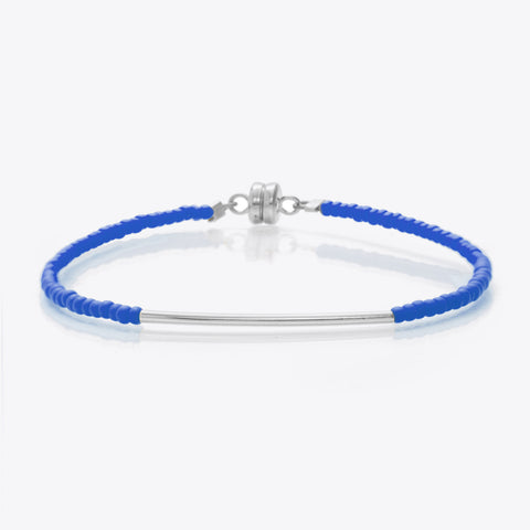 MINNIE GRACE Blue beaded friendship bracelet with silver bar, Bracelet - La Luce