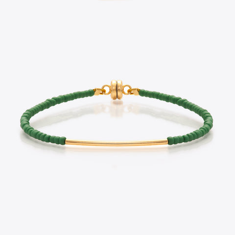 MINNIE GRACE Green beaded friendship bracelet, Bracelet - La Luce
