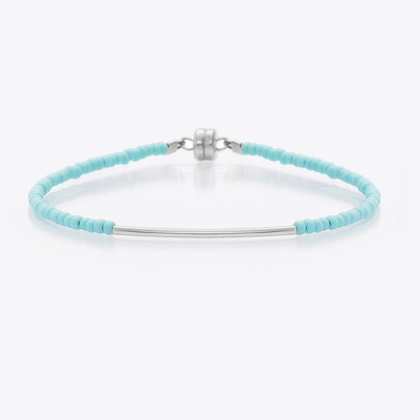 MINNIE GRACE Turquoise beaded friendship bracelet with silver bar, Bracelet - La Luce