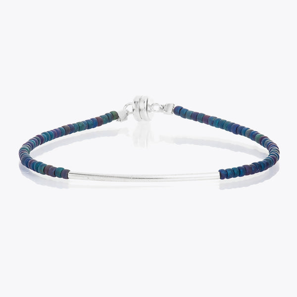 MINNIE GRACE Peacock blue beaded friendship bracelet with silver bar, Bracelet - La Luce