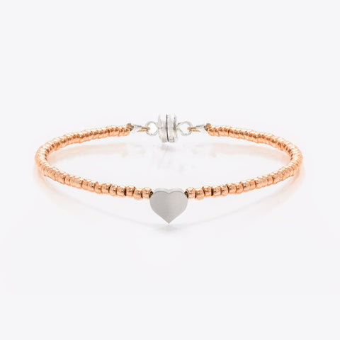 MINNIE GRACE Rose-Gold Beaded Heart charm friendship bracelet, Bracelet - La Luce