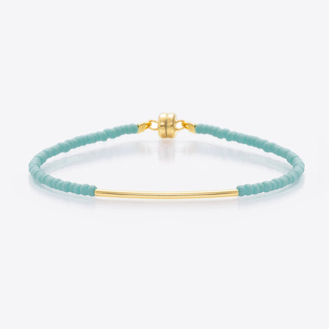 MINNIE GRACE Turquoise beaded friendship bracelet, Bracelet - La Luce