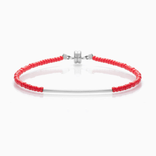 MINNIE GRACE Red beaded friendship bracelet with silver bar, Bracelet - La Luce