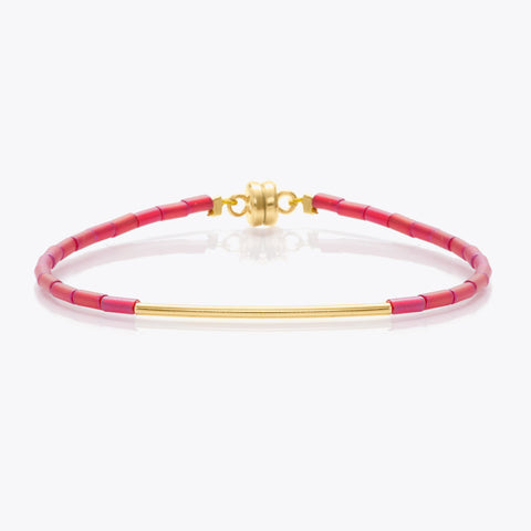 MINNIE GRACE Cranberry red beaded friendship bracelet, Bracelet - La Luce