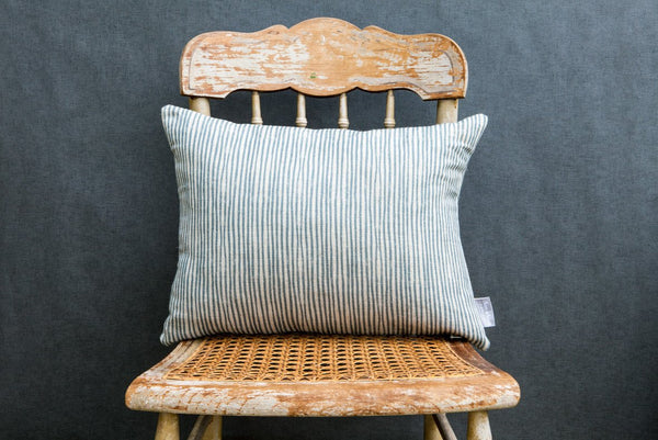 Blue stripe linen Cushion Rectangle - Peter Hall & Son