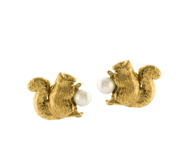 Squirrel & Freshwater Pearl Stud Gold Earrings - Peter Hall & Son
