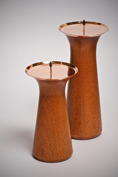 Small Pillar Candle Stand with Copper Top - Peter Hall & Son