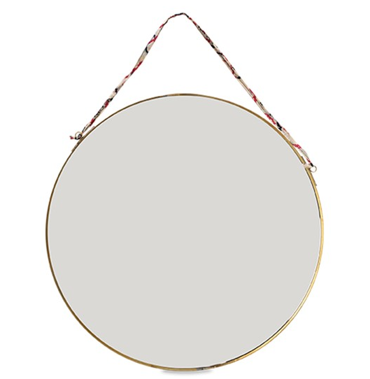 Round Mirror - Antique Brass/Leather - Large - Peter Hall & Son