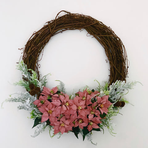 PINK POINSETTIA HOLIDAY WREATH