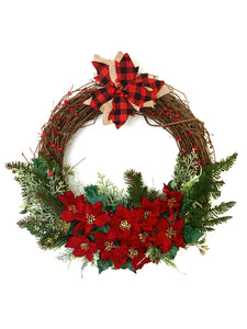 RED POINSETTIA HOLIDAY WREATH