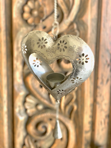 HANGING HEART TEA LIGHT CANDLE HOLDER