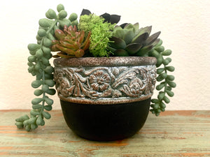 SMALL STONE PLANTER w/ PATTERNED RIM