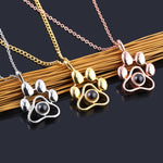 Dropshipping Custom Pet Photo Projection Necklaces Cat Dog Paw Pendant Choker Chain Pet Animal Memory Jewelry Gift