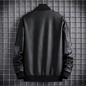 Men's Brand Leather Jacket Slim Motorcycle Jacket Leather Jacket Fashion Trend Motorcycle Zip Jacket Casual Street Windbreaker