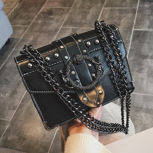 Mystery Lock Chain Shoulder Bag