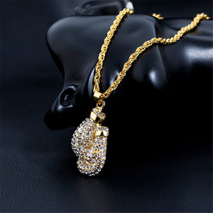 "Fashion Boxing Gloves Pendant Necklace 24""Long Chain Gold Color Iced Cubic Zircon Alloy Necklace Pendant For Unisex Hip Hop Gift"