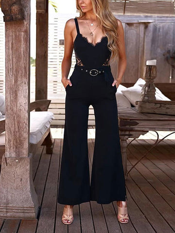 Sexy V-Neck Suspender Backless jumpsuit