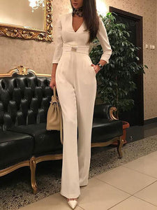 Sexy Deep V 3/4 Sleeve Jumpsuit