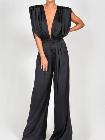 Sexy Deep V Sleeveless High Waist Jumpsuit
