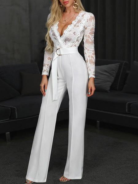 Sexy Lace V Neck Jumpsuits Wiht Belt