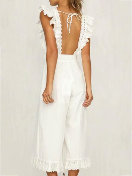 Backless Sleeveless Crew Neck Jumpsuits