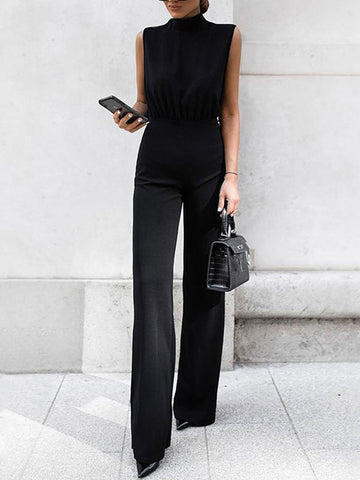 High-Neck Tie Casual Jumpsuit