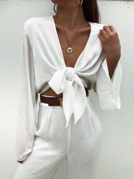 Fashion Sexy Long Sleeve Two-Piece Suit
