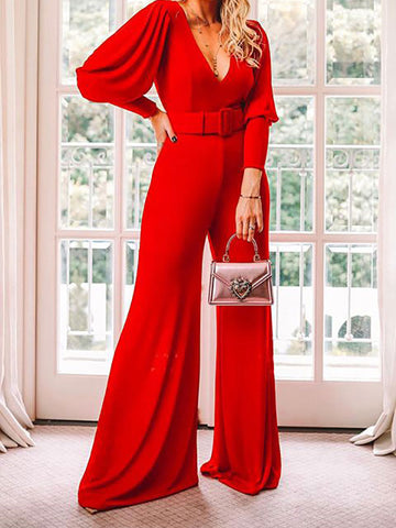 V-Neck Long Sleeve High Waist Fashion Jumpsuit