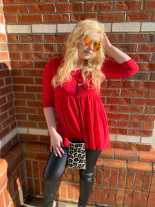 Ruby Red Baby Doll Top