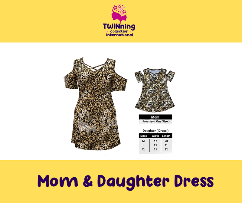 Twinning Collection Mom & Daughter Dress  - Leopard