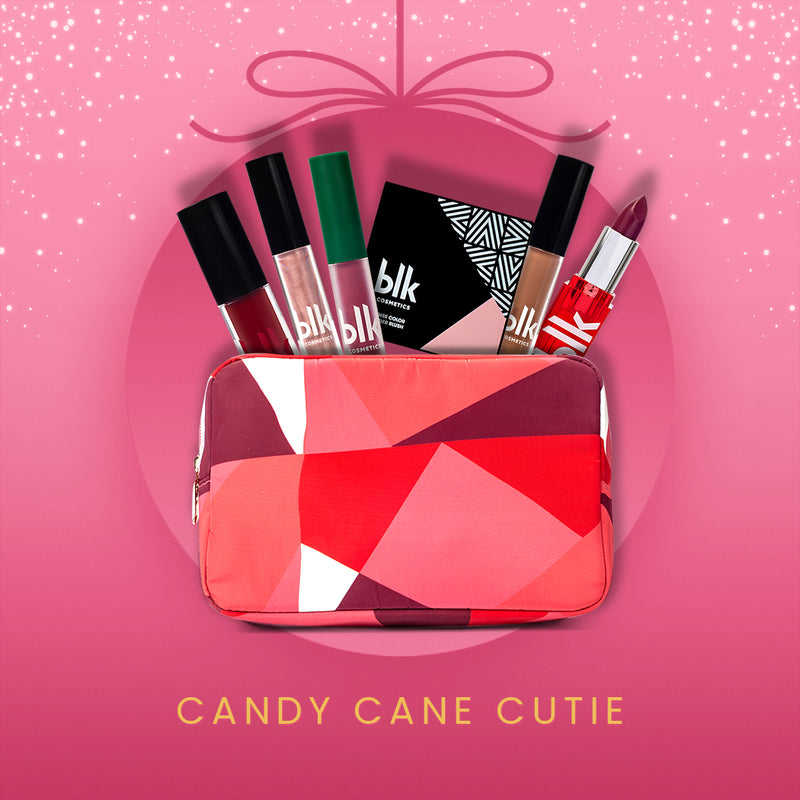 BLK Cosmetics Holiday Pouch Bundle Candy Cane Cutie