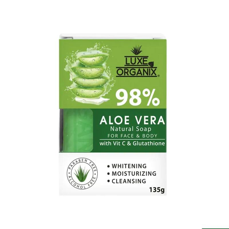 Luxe Organix 98% Aloe Vera Natural Soap with Vitamin C and Glutathione 135g