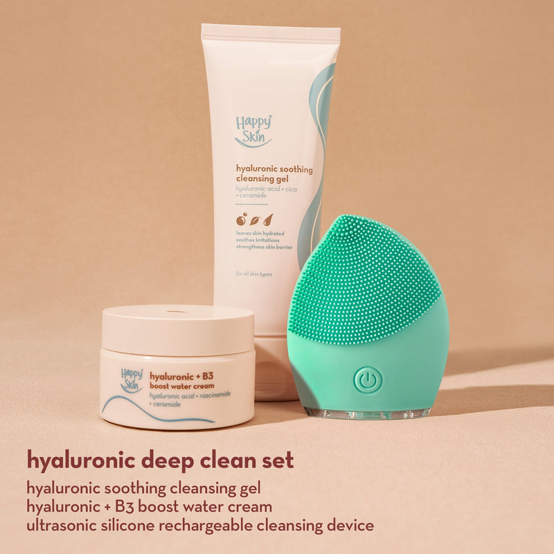 Happy Skin Hyaluronic Deep Clean Set (Cleansing Gel + Water Cream + Mini Cleansing Device)