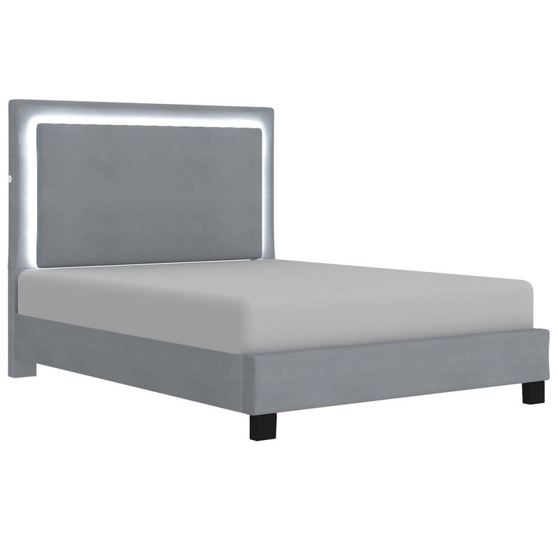 Lamya Platform Bed with Light - Grey